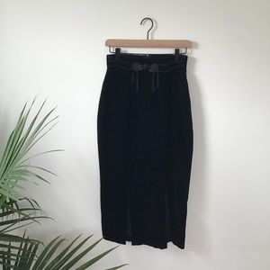 High-Waisted Vintage Black Velvet Skirt
